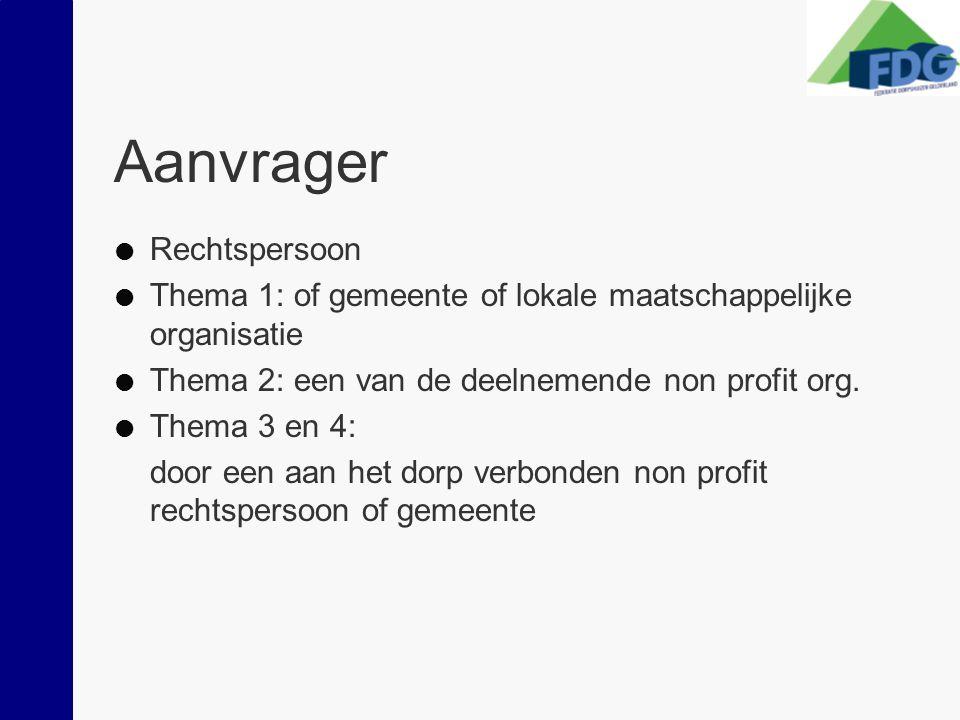 Aanvrager  Rechtspersoon  Thema 1: of gemeente of lokale maatschappelijke organisatie  Thema 2: een van de deelnemende non profit org.