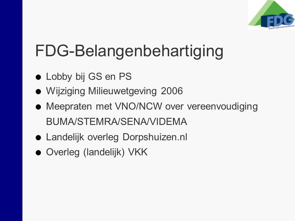 FDG-Belangenbehartiging  Lobby bij GS en PS  Wijziging Milieuwetgeving 2006  Meepraten met VNO/NCW over vereenvoudiging BUMA/STEMRA/SENA/VIDEMA  Landelijk overleg Dorpshuizen.nl  Overleg (landelijk) VKK