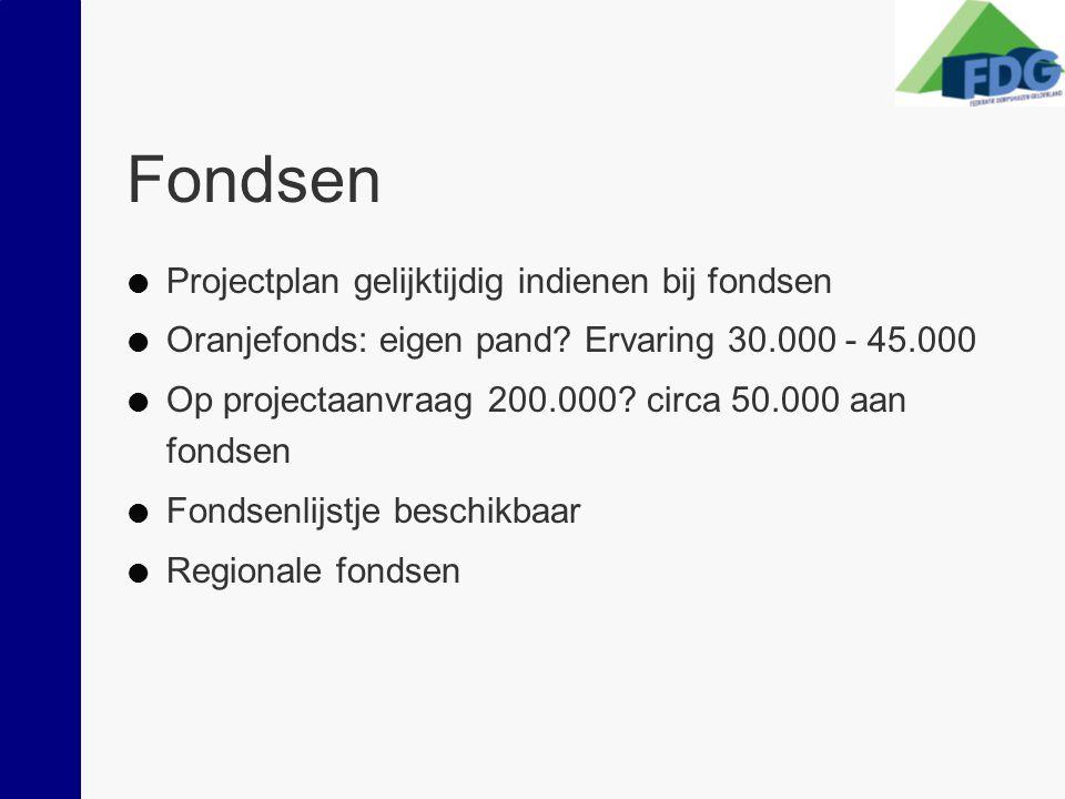 Fondsen  Projectplan gelijktijdig indienen bij fondsen  Oranjefonds: eigen pand? Ervaring 30.000 - 45.000  Op projectaanvraag 200.000? circa 50.000
