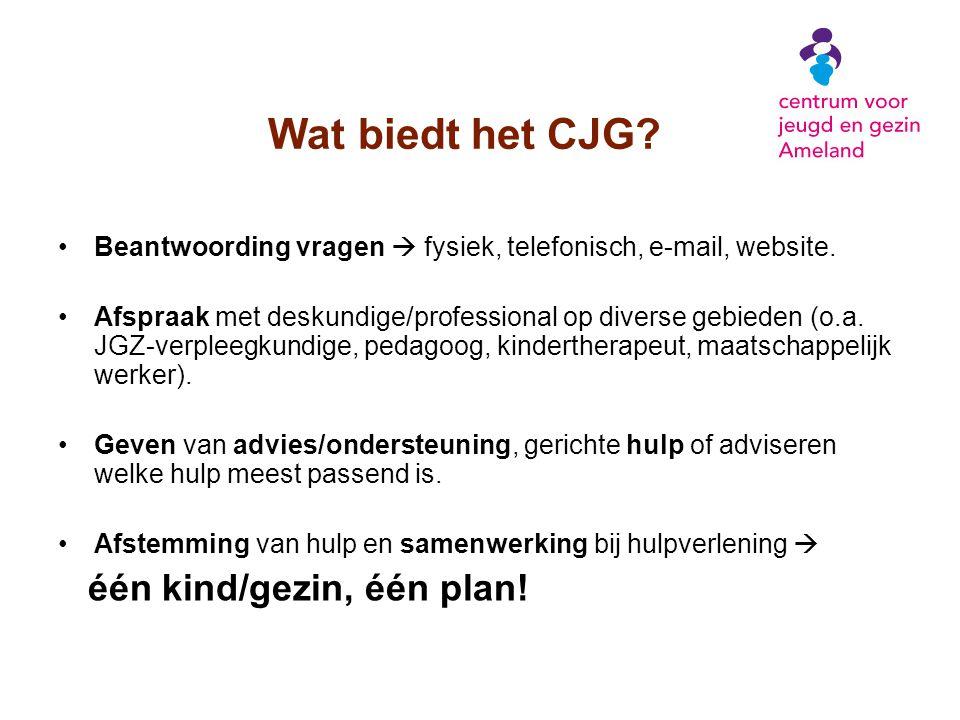 Wat biedt het CJG? Beantwoording vragen  fysiek, telefonisch, e-mail, website. Afspraak met deskundige/professional op diverse gebieden (o.a. JGZ-ver