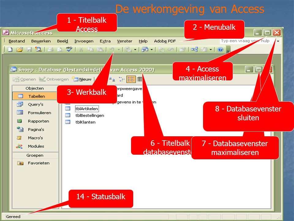 De werkomgeving van Access 1 - Titelbalk Access 2 - Menubalk 3- Werkbalk 4 - Access maximaliseren 5 - Access Sluiten 6 - Titelbalk databasevenster 7 -