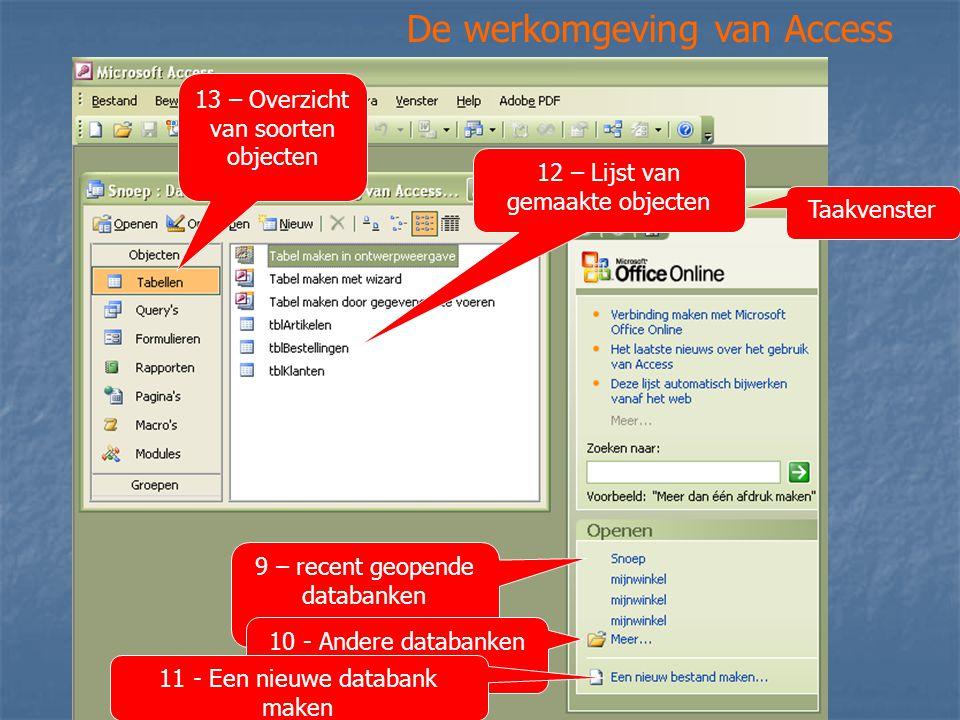 De werkomgeving van Access Taakvenster 9 – recent geopende databanken 10 - Andere databanken 11 - Een nieuwe databank maken 12 – Lijst van gemaakte ob