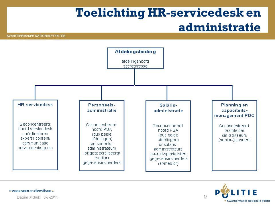 GELDERLAND_ZUID KWARTIERMAKER NATIONALE POLITIE Datum afdruk: Toelichting HR-servicedesk en administratie 8-7-2014 13