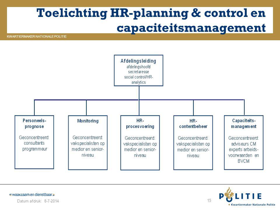 GELDERLAND_ZUID KWARTIERMAKER NATIONALE POLITIE Datum afdruk: Toelichting HR-planning & control en capaciteitsmanagement 8-7-2014 15