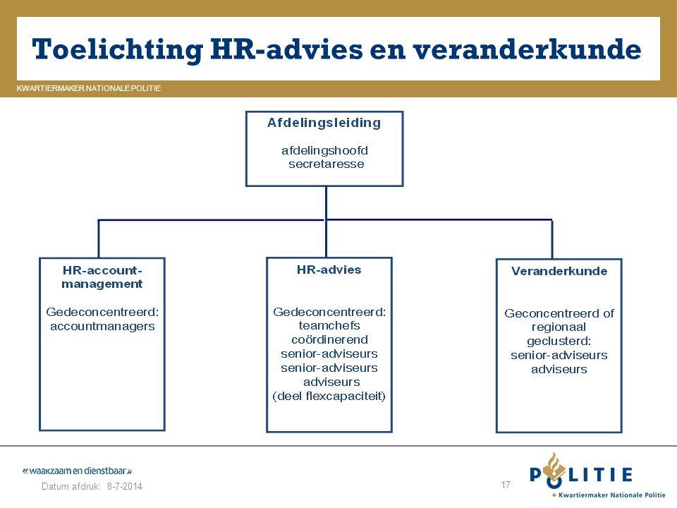 GELDERLAND_ZUID KWARTIERMAKER NATIONALE POLITIE Datum afdruk: Toelichting HR-advies en veranderkunde 8-7-2014 17