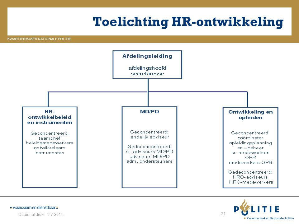 GELDERLAND_ZUID KWARTIERMAKER NATIONALE POLITIE Datum afdruk: Toelichting HR-ontwikkeling 8-7-2014 21