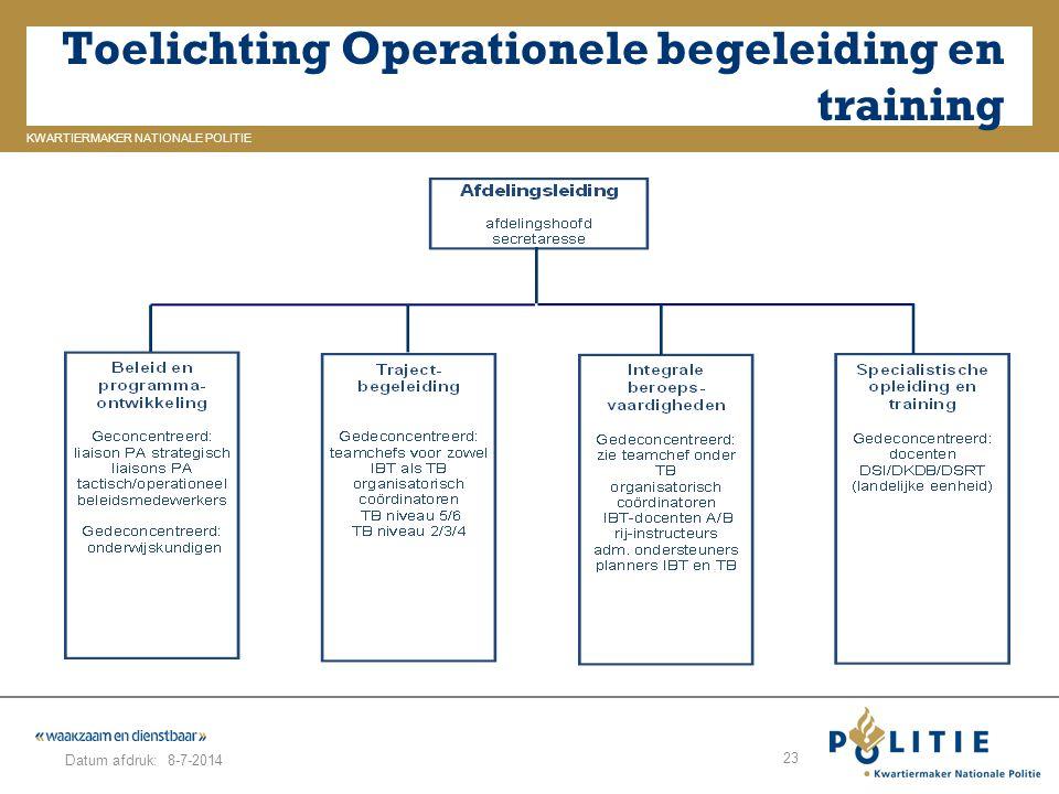 GELDERLAND_ZUID KWARTIERMAKER NATIONALE POLITIE Datum afdruk: Toelichting Operationele begeleiding en training 8-7-2014 23