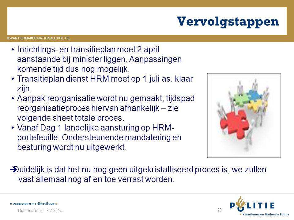 GELDERLAND_ZUID KWARTIERMAKER NATIONALE POLITIE Datum afdruk: Vervolgstappen 8-7-2014 29 Inrichtings- en transitieplan moet 2 april aanstaande bij min