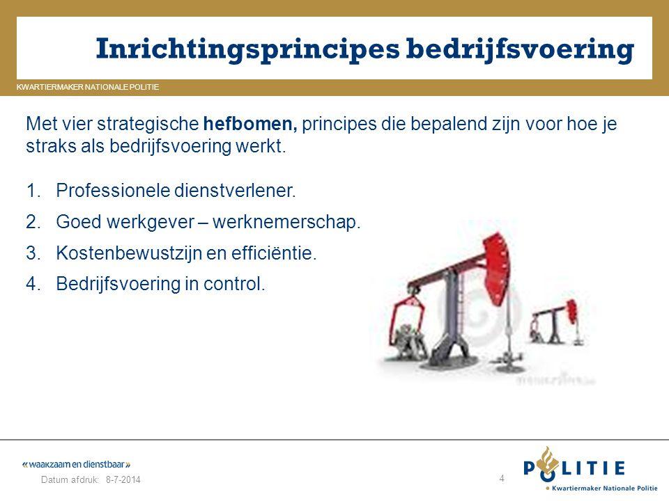 GELDERLAND_ZUID KWARTIERMAKER NATIONALE POLITIE Datum afdruk: Inrichtingsprincipes bedrijfsvoering 8-7-2014 4 Met vier strategische hefbomen, principe