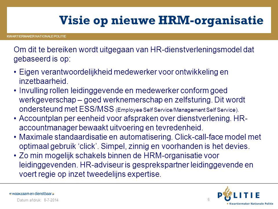 GELDERLAND_ZUID KWARTIERMAKER NATIONALE POLITIE Datum afdruk: Visie op nieuwe HRM-organisatie 8-7-2014 6 Om dit te bereiken wordt uitgegaan van HR-die