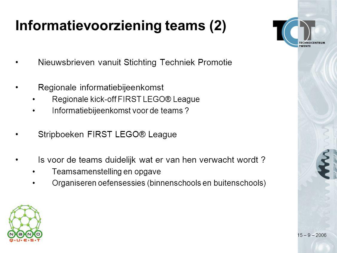 15 – 9 – 2006 Informatievoorziening teams (2) Nieuwsbrieven vanuit Stichting Techniek Promotie Regionale informatiebijeenkomst Regionale kick-off FIRS