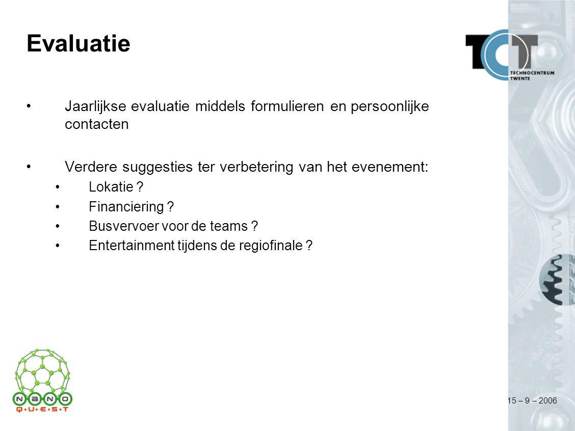 15 – 9 – 2006 Evaluatie Jaarlijkse evaluatie middels formulieren en persoonlijke contacten Verdere suggesties ter verbetering van het evenement: Lokat
