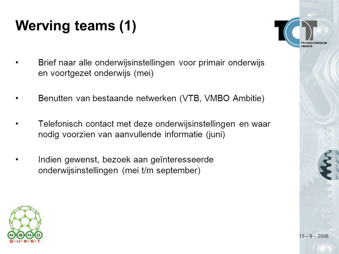 15 – 9 – 2006 Werving teams (1) Brief naar alle onderwijsinstellingen voor primair onderwijs en voortgezet onderwijs (mei) Benutten van bestaande netw