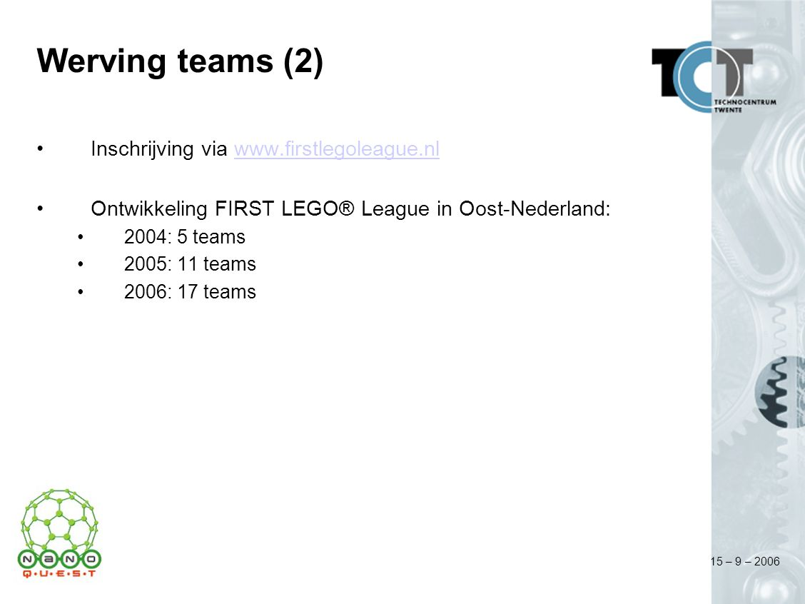 15 – 9 – 2006 Werving teams (2) Inschrijving via www.firstlegoleague.nlwww.firstlegoleague.nl Ontwikkeling FIRST LEGO® League in Oost-Nederland: 2004: 5 teams 2005: 11 teams 2006: 17 teams