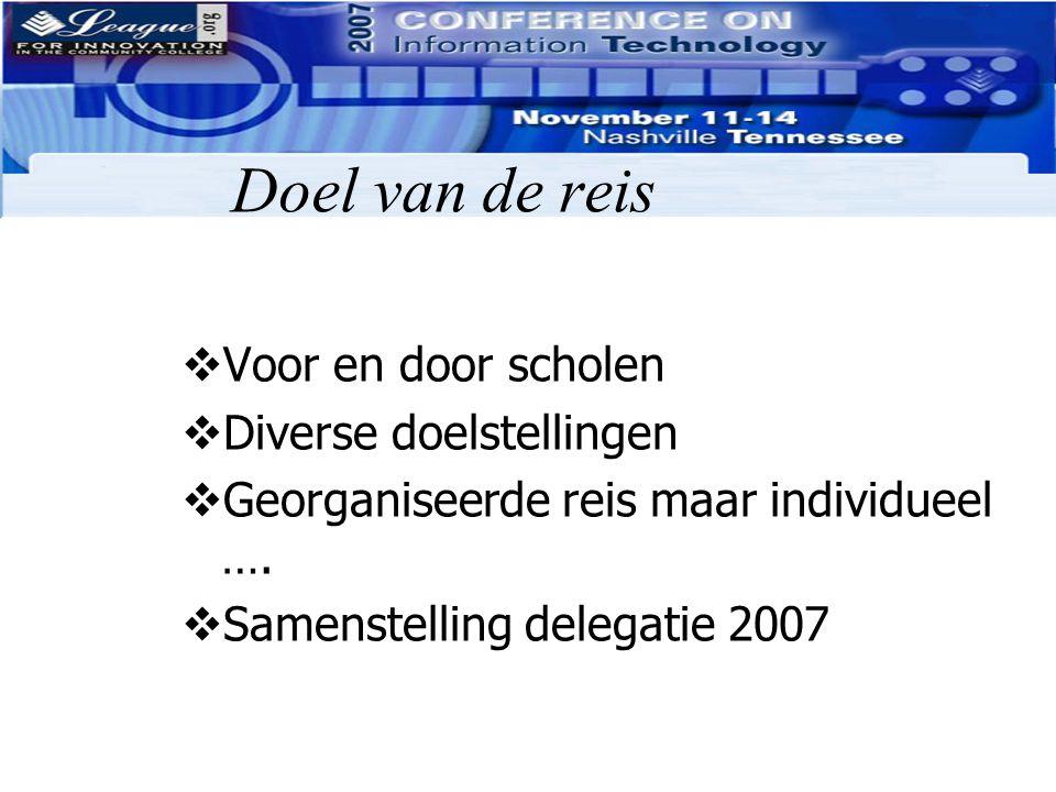 Doel van de reis  Voor en door scholen  Diverse doelstellingen  Georganiseerde reis maar individueel ….  Samenstelling delegatie 2007