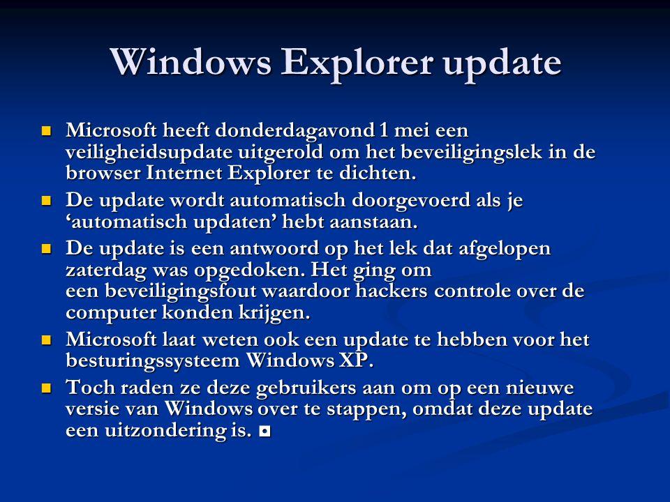 Windows Explorer update Microsoft heeft donderdagavond 1 mei een veiligheidsupdate uitgerold om het beveiligingslek in de browser Internet Explorer te dichten.