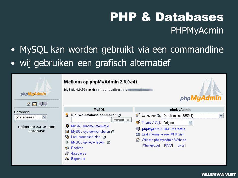 PHP & Databases PHPMyAdmin MySQL kan worden gebruikt via een commandline wij gebruiken een grafisch alternatief