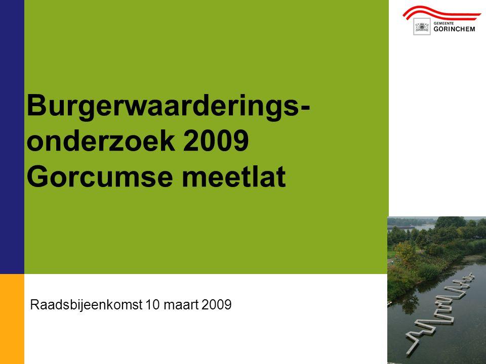 01/01/2008 Burgerwaarderings- onderzoek 2009 Gorcumse meetlat Raadsbijeenkomst 10 maart 2009