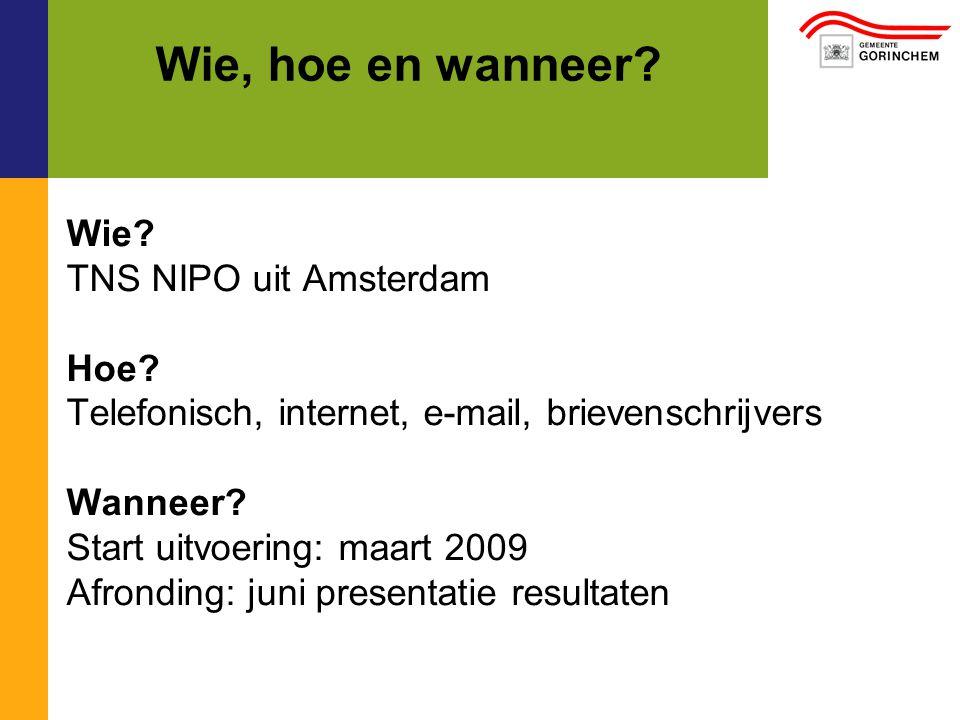 Wie, hoe en wanneer. Wie. TNS NIPO uit Amsterdam Hoe.