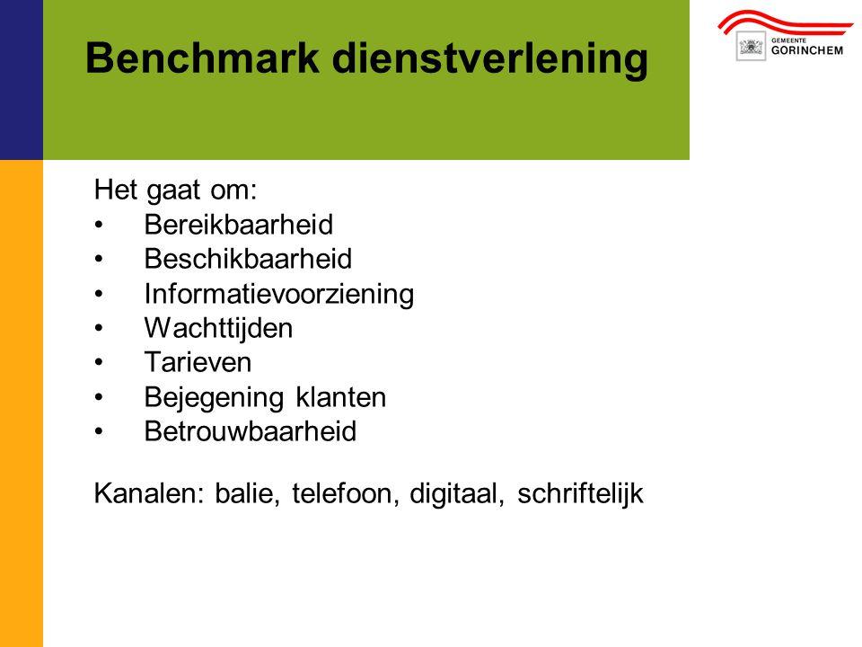 Benchmark dienstverlening Het gaat om: Bereikbaarheid Beschikbaarheid Informatievoorziening Wachttijden Tarieven Bejegening klanten Betrouwbaarheid Kanalen: balie, telefoon, digitaal, schriftelijk