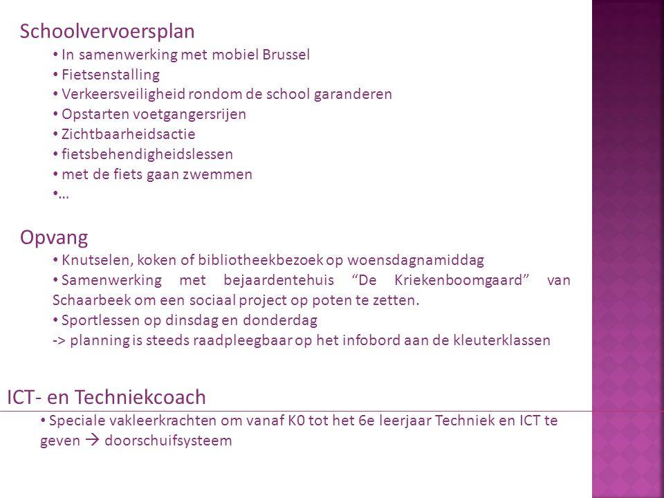 Schoolvervoersplan In samenwerking met mobiel Brussel Fietsenstalling Verkeersveiligheid rondom de school garanderen Opstarten voetgangersrijen Zichtb