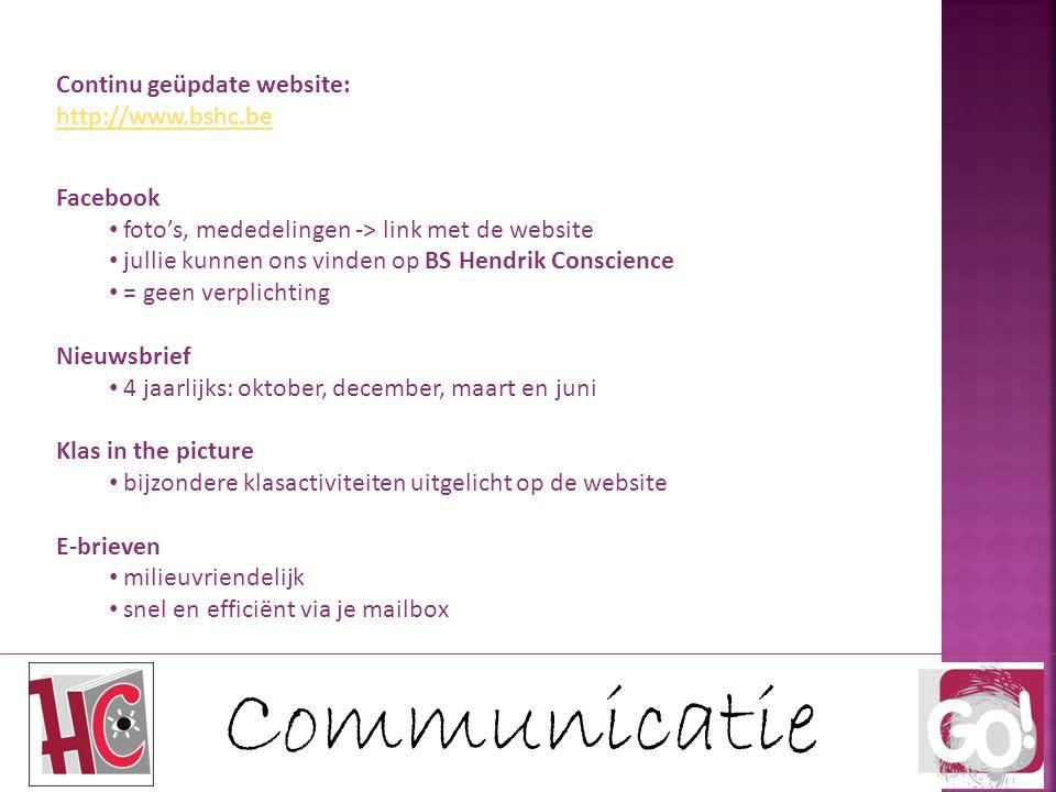 Communicatie Continu geüpdate website: http://www.bshc.be Facebook foto's, mededelingen -> link met de website jullie kunnen ons vinden op BS Hendrik