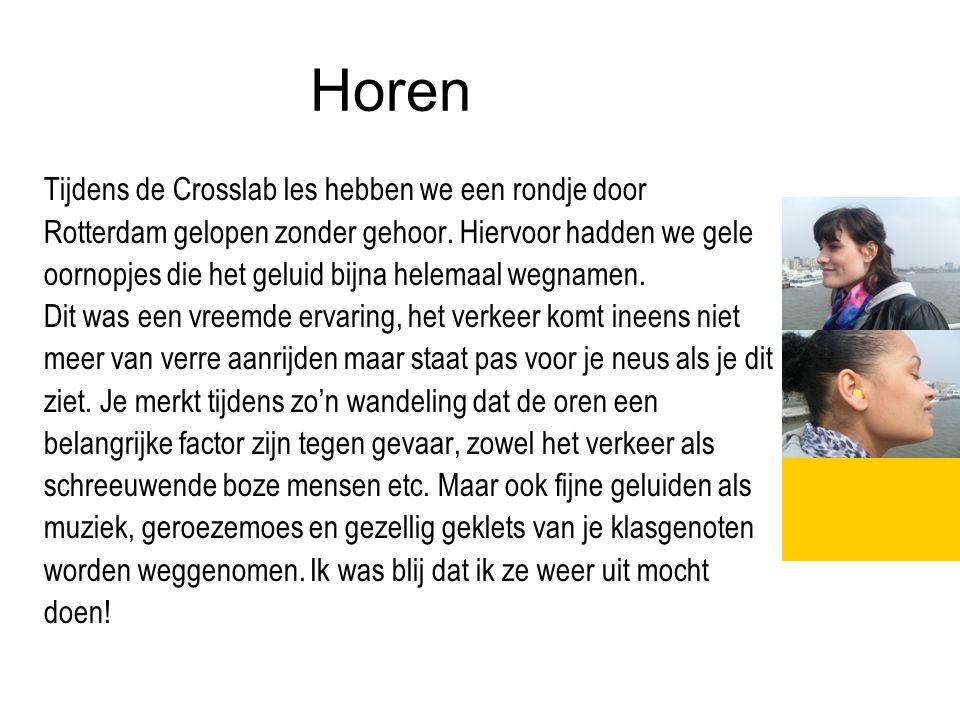 Horen Tijdens de Crosslab les hebben we een rondje door Rotterdam gelopen zonder gehoor. Hiervoor hadden we gele oornopjes die het geluid bijna helema