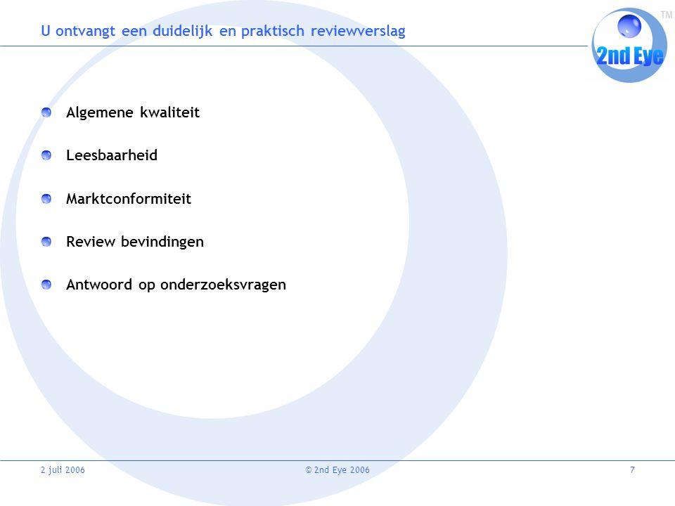 2 juli 2006© 2nd Eye 20067 U ontvangt een duidelijk en praktisch reviewverslag Algemene kwaliteit Leesbaarheid Marktconformiteit Review bevindingen Antwoord op onderzoeksvragen