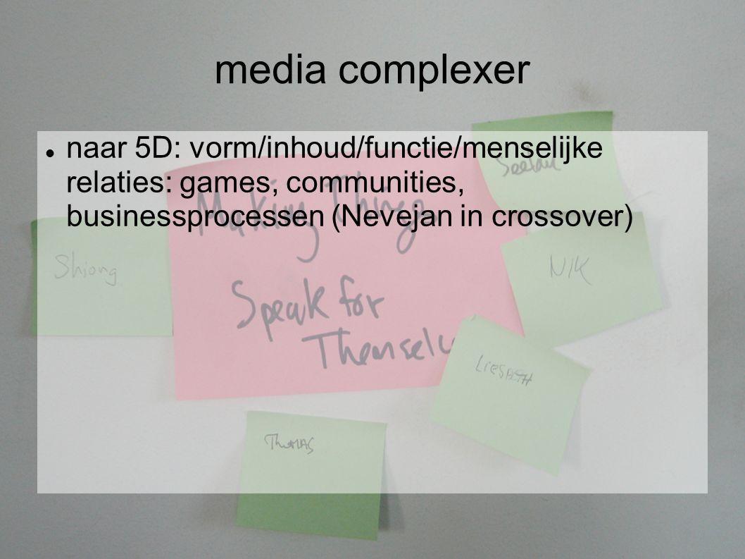 media complexer naar 5D: vorm/inhoud/functie/menselijke relaties: games, communities, businessprocessen (Nevejan in crossover)