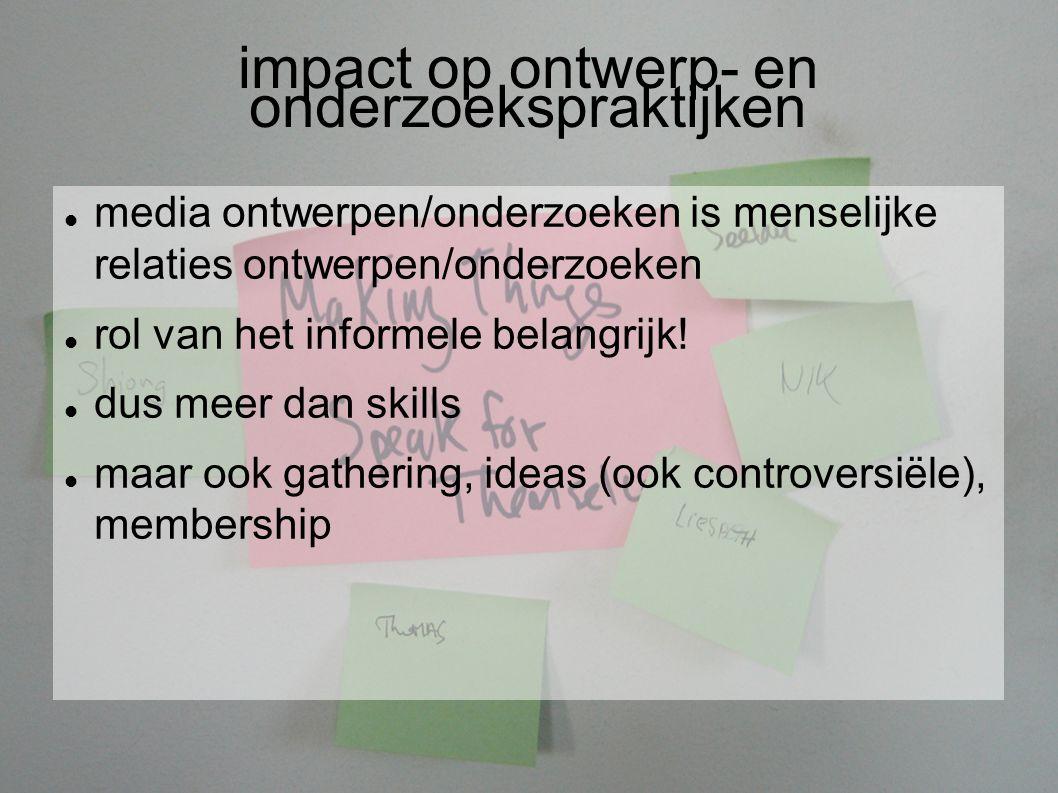 impact op ontwerp- en onderzoekspraktijken media ontwerpen/onderzoeken is menselijke relaties ontwerpen/onderzoeken rol van het informele belangrijk.
