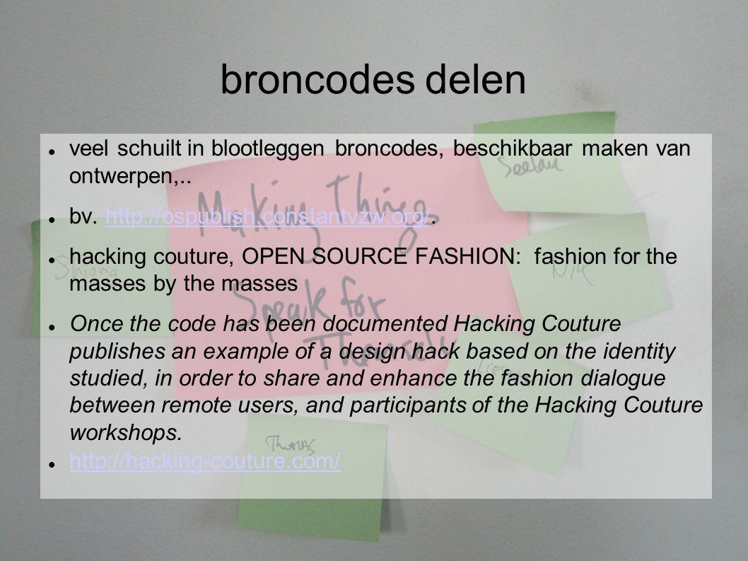 broncodes delen veel schuilt in blootleggen broncodes, beschikbaar maken van ontwerpen,..