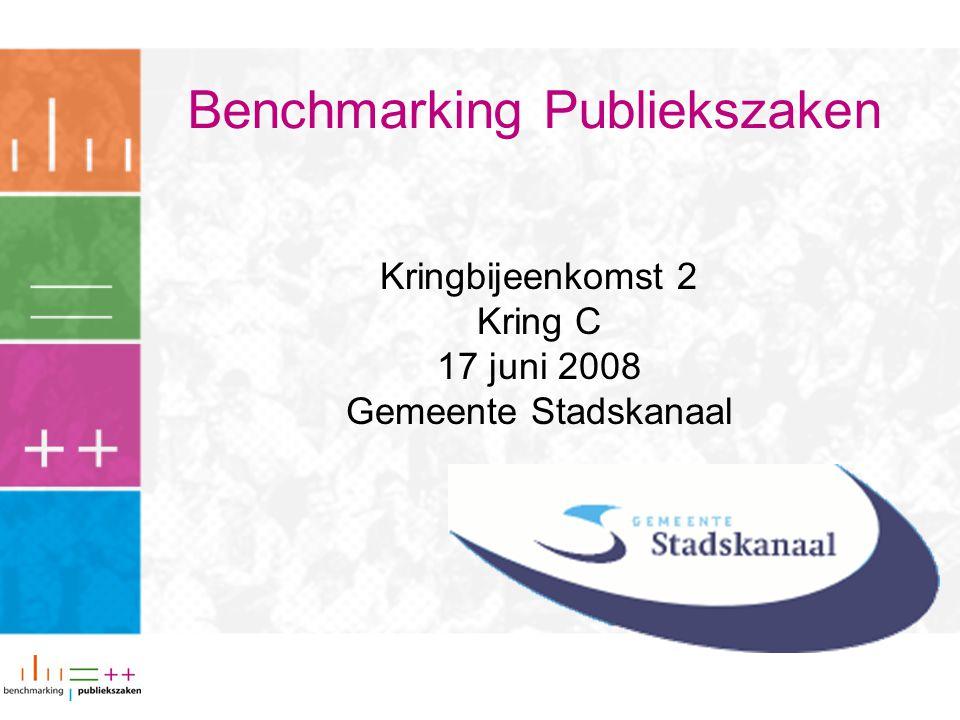 Benchmarking Publiekszaken Kringbijeenkomst 2 Kring C 17 juni 2008 Gemeente Stadskanaal