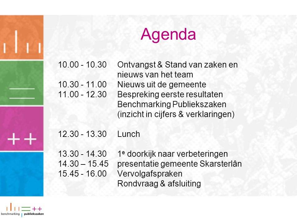 Agenda 10.00 - 10.30 Ontvangst & Stand van zaken en nieuws van het team 10.30 - 11.00Nieuws uit de gemeente 11.00 - 12.30Bespreking eerste resultaten