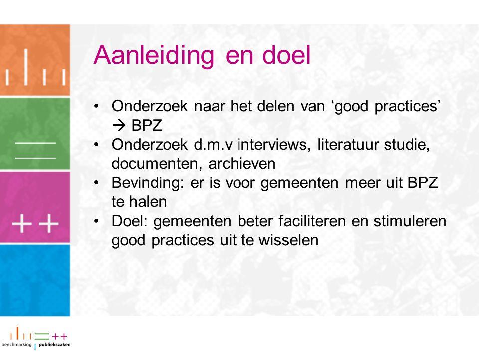 Aanleiding en doel Onderzoek naar het delen van 'good practices'  BPZ Onderzoek d.m.v interviews, literatuur studie, documenten, archieven Bevinding: