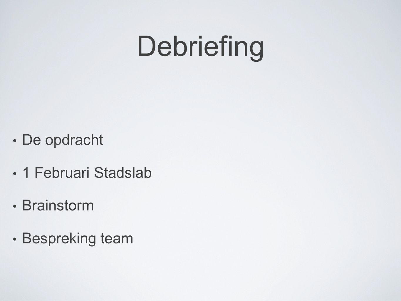 De opdracht 1 Februari Stadslab Brainstorm Bespreking team Debriefing