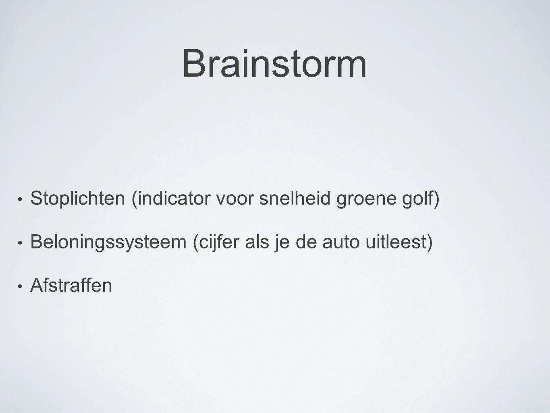 Brainstorm Stoplichten (indicator voor snelheid groene golf) Beloningssysteem (cijfer als je de auto uitleest) Afstraffen
