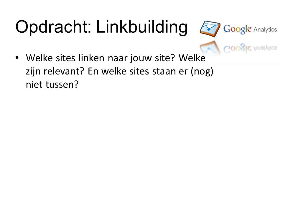 Opdracht: Linkbuilding Welke sites linken naar jouw site.