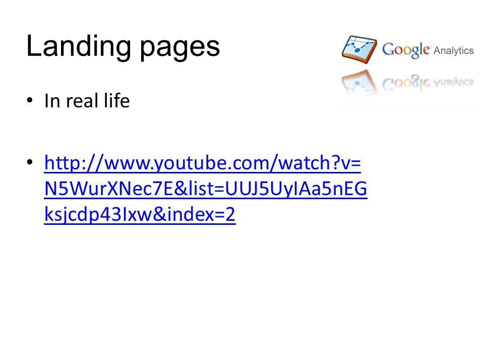 Landing pages In real life http://www.youtube.com/watch v= N5WurXNec7E&list=UUJ5UyIAa5nEG ksjcdp43Ixw&index=2 http://www.youtube.com/watch v= N5WurXNec7E&list=UUJ5UyIAa5nEG ksjcdp43Ixw&index=2