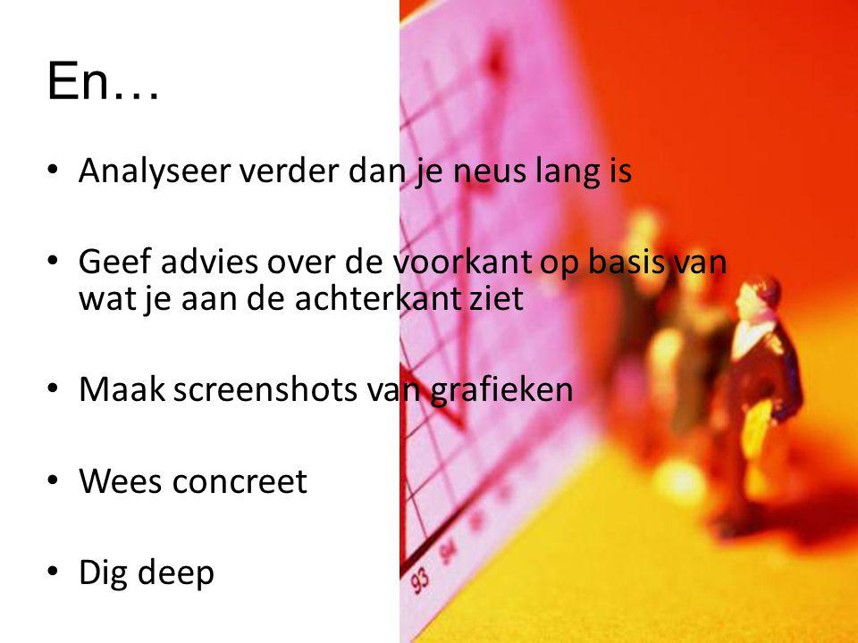 Analyseer verder dan je neus lang is Geef advies over de voorkant op basis van wat je aan de achterkant ziet Maak screenshots van grafieken Wees concreet Dig deep www.docsupload.wordpress.com En…