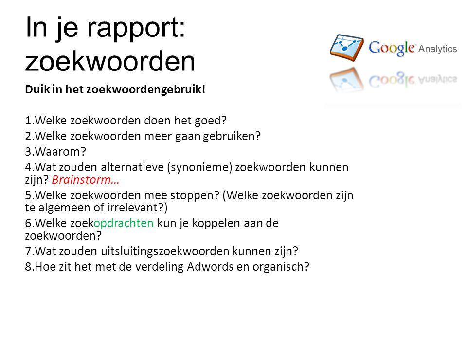 In je rapport: zoekwoorden Duik in het zoekwoordengebruik.