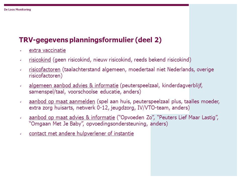 De Loos Monitoring TRV-gegevens planningsformulier (deel 2)  extra vaccinatie  risicokind (geen risicokind, nieuw risicokind, reeds bekend risicokin