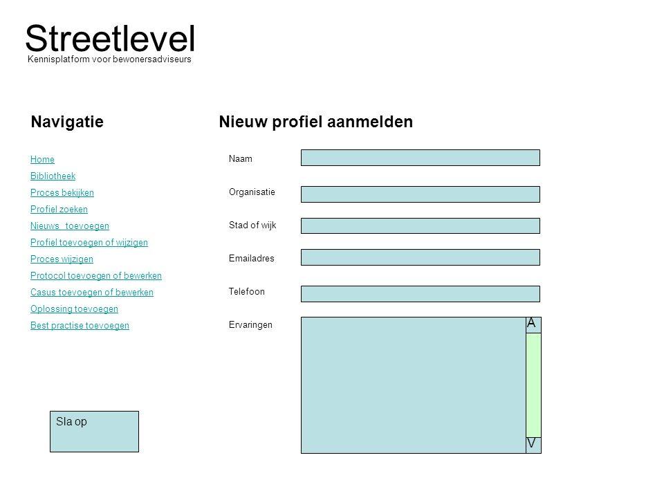 Streetlevel Kennisplatform voor bewonersadviseurs Navigatie Home Bibliotheek Proces bekijken Profiel zoeken Nieuws toevoegen Profiel toevoegen of wijz