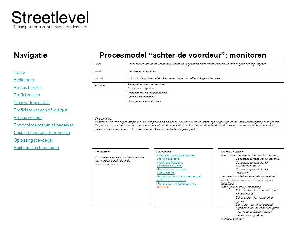 """Streetlevel Kennisplatform voor bewonersadviseurs Procesmodel """"achter de voordeur"""": monitoren Omschrijving: Monitoren van vervolg en afspraken. Bel af"""