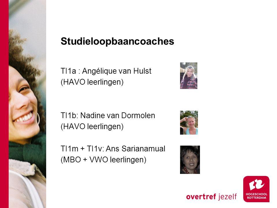 Studieloopbaancoaches TI1a : Angélique van Hulst (HAVO leerlingen) TI1b: Nadine van Dormolen (HAVO leerlingen) TI1m + TI1v: Ans Sarianamual (MBO + VWO leerlingen)