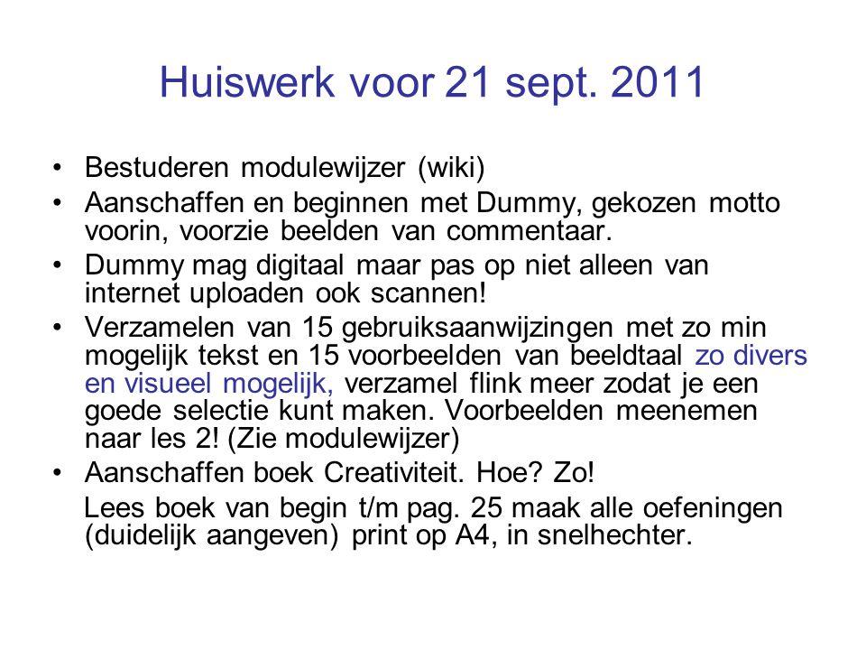 Huiswerk voor 21 sept.