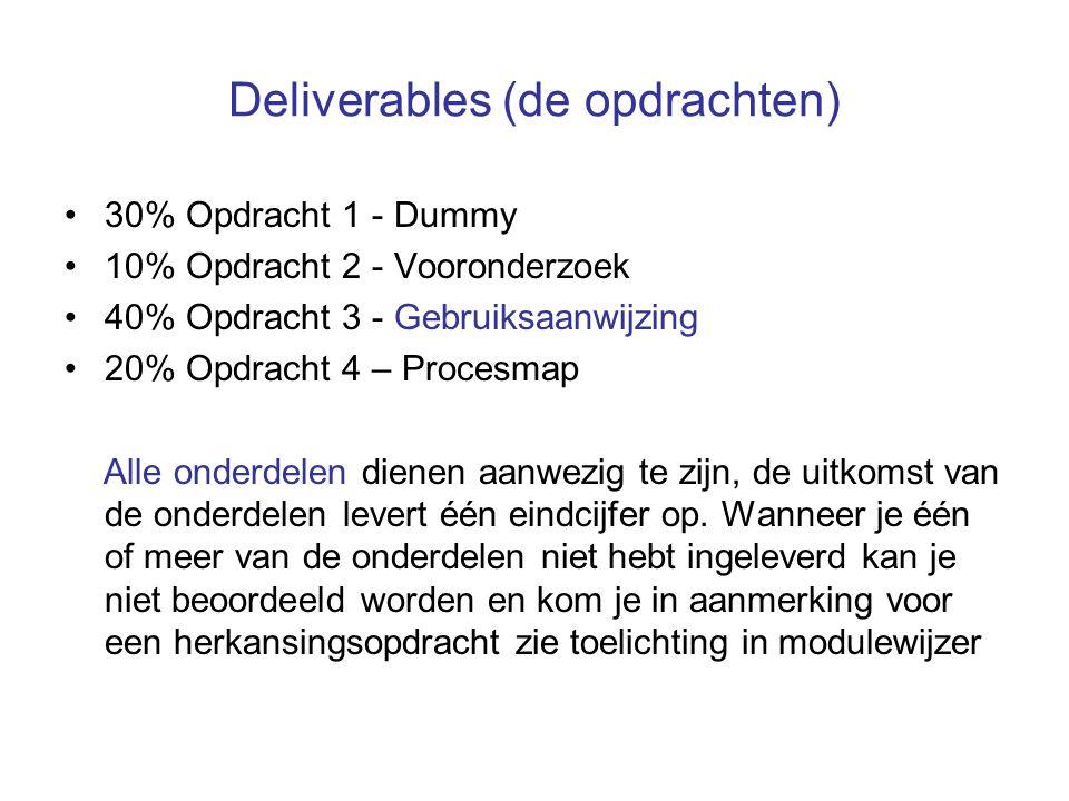 Deliverables (de opdrachten) 30% Opdracht 1 - Dummy 10% Opdracht 2 - Vooronderzoek 40% Opdracht 3 - Gebruiksaanwijzing 20% Opdracht 4 – Procesmap Alle onderdelen dienen aanwezig te zijn, de uitkomst van de onderdelen levert één eindcijfer op.