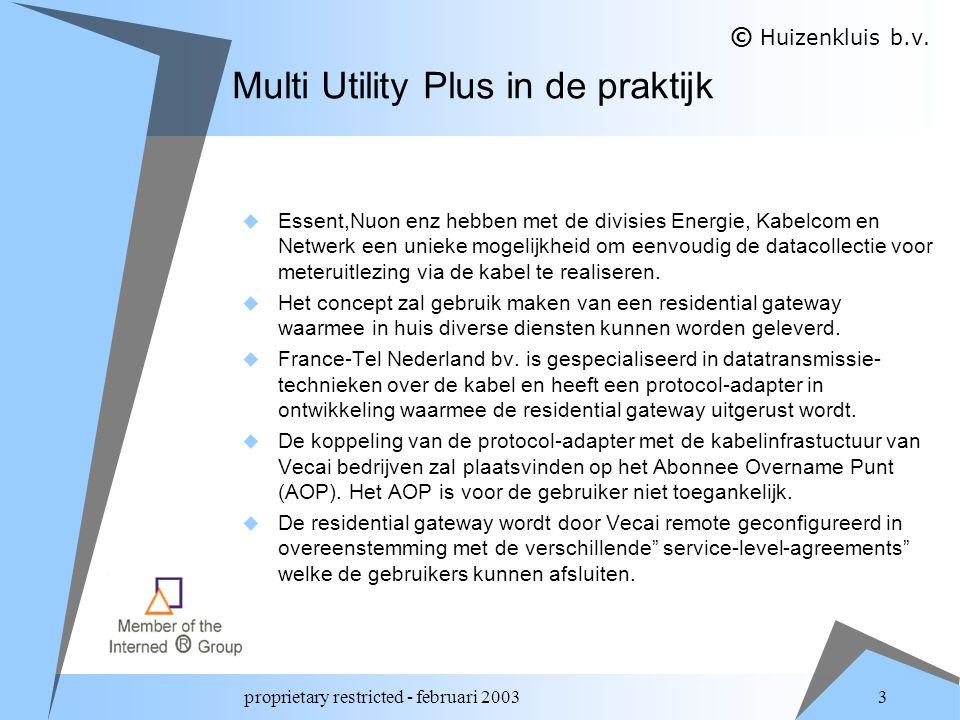 proprietary restricted - februari 2003 3 Multi Utility Plus in de praktijk  Essent,Nuon enz hebben met de divisies Energie, Kabelcom en Netwerk een unieke mogelijkheid om eenvoudig de datacollectie voor meteruitlezing via de kabel te realiseren.
