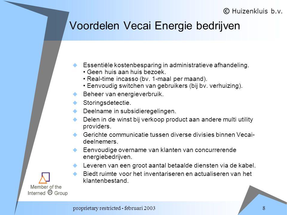 proprietary restricted - februari 2003 8 Voordelen Vecai Energie bedrijven  Essentiële kostenbesparing in administratieve afhandeling.