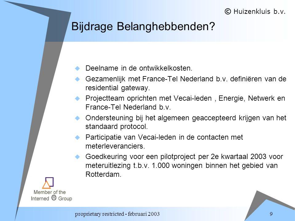 proprietary restricted - februari 2003 10 Conclusie  De standaard protocoladapter van France-Tel Nederland b.v.