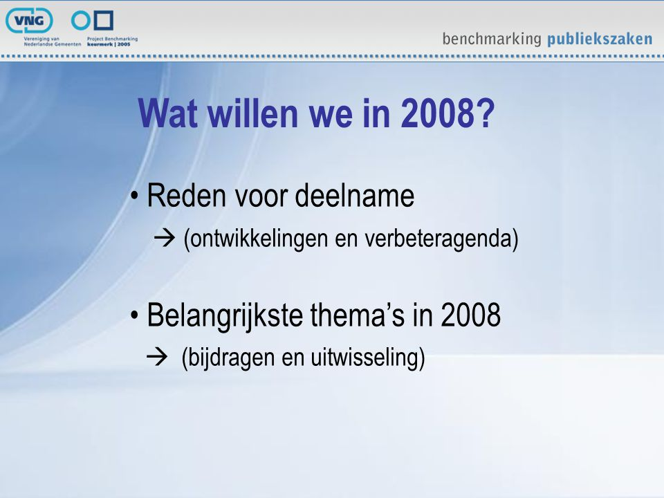 Wat willen we in 2008.